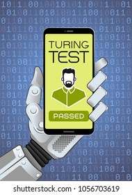 The Turing Test Has Been Successfully Passed By Robot. Mechanical hand of a robot holding smartphone showing test result. Vector illustration on the subject of 'Artificial Intelligence'.