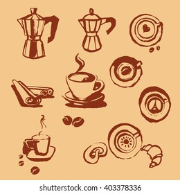 Turk coffee cup of coffee with coffee beans donut, cinnamon stick, vector, geyser coffee, cocoa