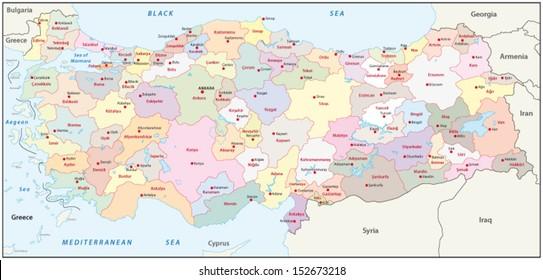 Greece Turkey Map Stock Vectors, Images & Vector Art   Shutterstock