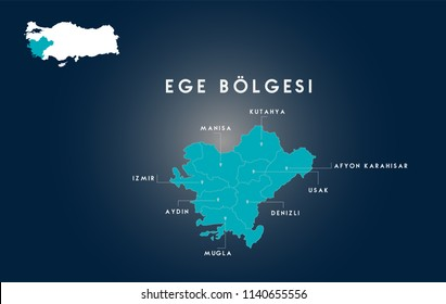 Turkey Aegean Region Map ( Turkish Turkiyenin Ege Bolgesi, Manisa, izmir, Aydin, Mugla, Denizli, Usak, Afyon, Kutahya Haritasi)