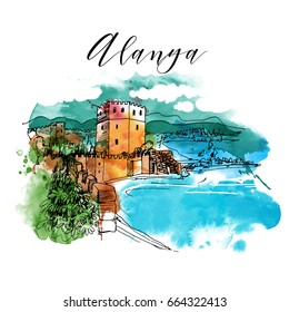 Turkey. Alanya.Watercolor vector background.