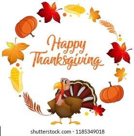 Turkey and autumn element illustration