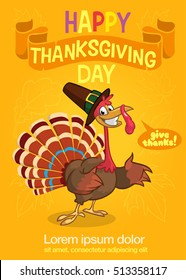 Turkey Bird Cartoon Character Waving With Speech Bubble And Text. Vector Illustration for Party Invitation