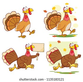 Turkey Bird Classic Cartoon Mascot Character Set 1. Vector Collection Isolated On White Background