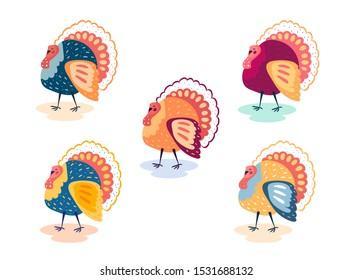 Turkey bird. Clipart. Thanksgiving day. Flat vector illustration. Different colors. Set. Design elements