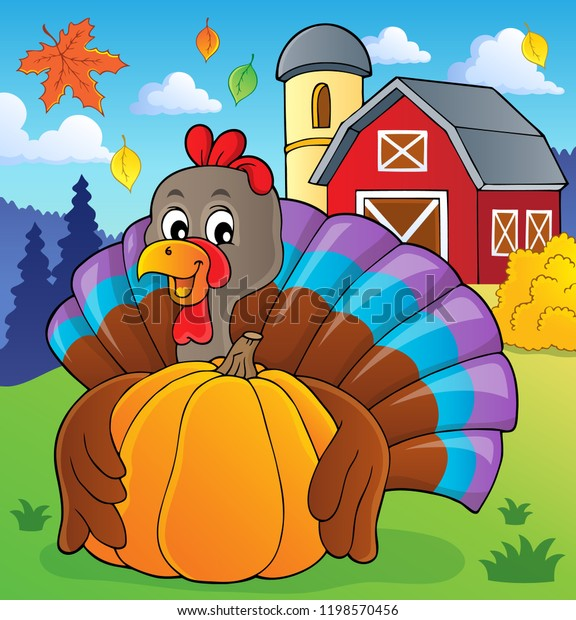 Turkey bird holding pumpkin theme 2 - eps10 vector illustration.