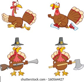 Turkey Birds Cartoon Mascot Characters 1. Vector Collection Set
