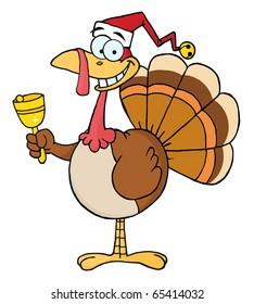 Turkey Cartoon Character Ringing A Bell