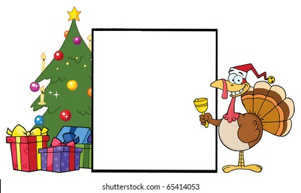 Turkey Cartoon Character Ringing A Bell Presenting A Blank Sign With Christmas Tree