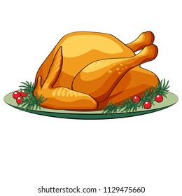 Turkey chicken on a plate with greens and red berries. Icon for Thanksgiving and bars, cafes. Grilled chicken. Vector illustration.