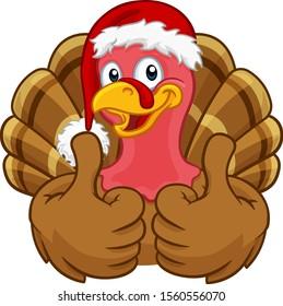 Turkey Christmas or Thanksgiving Holiday cartoon character wearing a Santa Claus hat