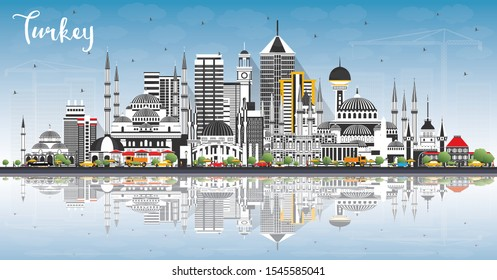 Turkey City Skyline with Gray Buildings, Blue Sky and Reflections. Vector Illustration. Tourism Concept with Historic Architecture. Turkey Cityscape with Landmarks. Izmir. Ankara. Istanbul.