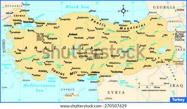Turkey Country Map Stock Vector (Royalty Free) 270507629 on