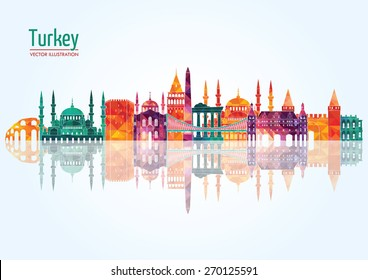 Turkey detailed skyline. Vector illustration