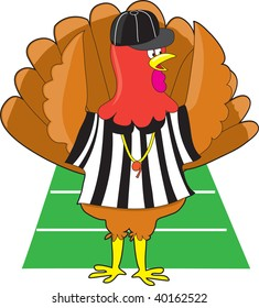 A turkey dressed as a referee at a football game signaling a touch down