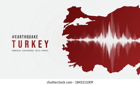 Turkey Earthquake Wave with Circle Vibration,design for education,science and news,Vector Illustration.