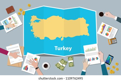 turkey economy country growth nation team discuss with fold maps view from top vector illustration