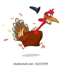 Turkey Escape Cartoon Mascot Character. Vector Illustration Isolated on white