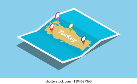 turkey explore maps country nation with isometric style and pin location tag on top vector illustration