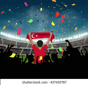 Turkey fan stand up and hand flag in silhouette group to celebrate the team won in the soccer match on the stadium background, with confetti in the night time, design for template in vector format