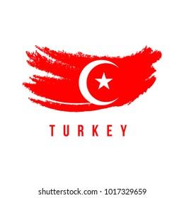 Turkey Flag Brush Logo Vector Template Design