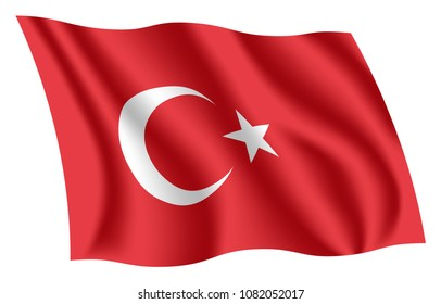 Turkey flag. Isolated national flag of Turkey. Waving flag of the Republic of Turkey. Fluttering textile turkish flag.