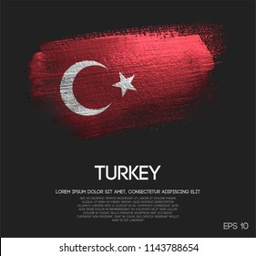 Turkey Flag Made of Glitter Sparkle Brush Paint Vector