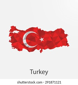 Turkey flag map in geometric,mosaic polygonal style.Abstract tessellation,background. Vector illustration EPS10