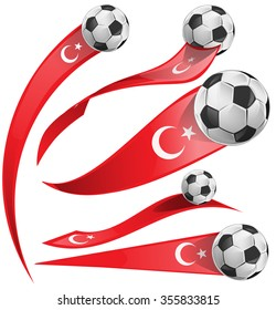 turkey flag  set with soccer ball isolated on white