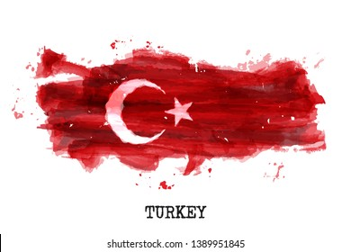 Turkey flag watercolor painting design . Country map shape . Sports team and national day concept ( 29 October ) . Vector .