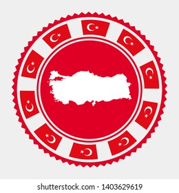 Turkey flat stamp. Round logo with map and flag of Turkey. Vector illustration.