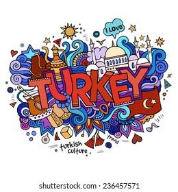 Turkey hand lettering and doodles elements background. Vector illustration