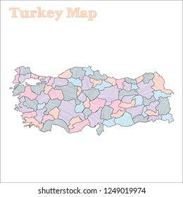 Turkey hand-drawn map. Colourful sketchy country outline. Eminent Turkey map with provinces. Vector illustration.