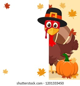 The Turkey in hat Peeps out from behind the white sheet and shows a like. Thanksgiving day
