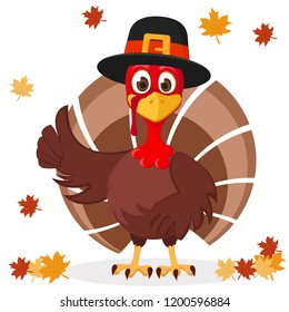 Turkey in hat shows like on a white with autumn leaves. Thanksgiving day.