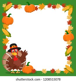 Turkey in a hat waving his wing next to the frame of autumn leaves and corn. Thanksgiving.