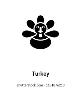 Turkey icon vector isolated on white background, logo concept of Turkey sign on transparent background, filled black symbol