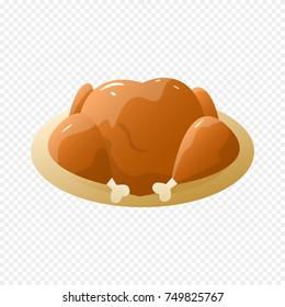 Turkey Isolated on Light Transparent Background. Baked Turkey on Plate. Vector Illustration.