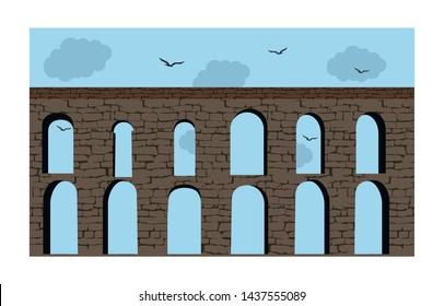 Turkey, Istanbul (Bozdagan Kemeri) Aqueduct of the Grey Falcon.  Roman aqueduct which was the major water-providing system of the Eastern Roman capital of Constantinople. Valens Aqueduct