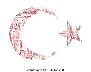 Turkey Istanbul Word Cloud inside Crescent and Star Shapes