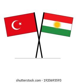 Turkey and Kurdistan Iraq Flags on polls symbolizing relationship and partnership of the Kurdish people.