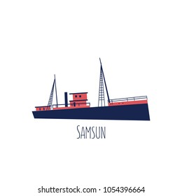 Turkey landmark Bandirma Museum ship of Samsun city cartoon vector illustration isolated on white background, turkish travel icon, decorative colorful flat sign for design travel advertising