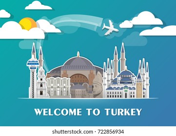 Turkey Landmark Global Travel And Journey paper background. Vector Design Template.used for your advertisement, book, banner, template, travel business or presentation.