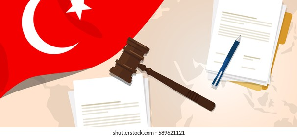 Turkey law constitution legal judgment justice legislation trial concept using flag gavel paper and pen vector