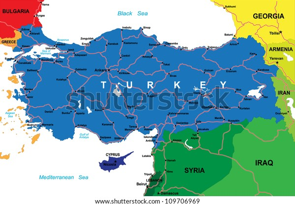 Turkki Kartta Arkistovektori Rojaltivapaa 109706969
