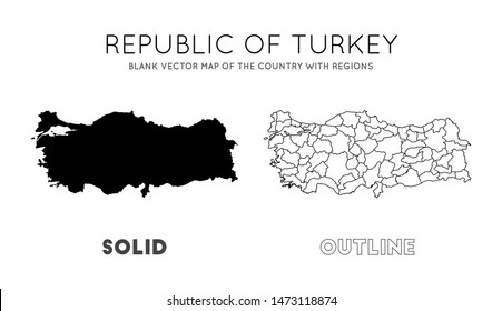 Turkey map. Blank vector map of the Country with regions. Borders of Turkey for your infographic. Vector illustration.