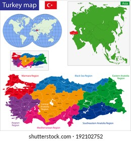 Turkey map designed in illustration with regions colored in bright colors
