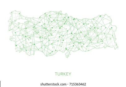 Turkey map, green dotted net vector background