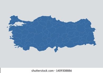 Turkey map on gray background vector, Czech Map Outline Shape Blue on White Vector Illustration, Map of Europe. Symbol for your web site design map logo. app, ui, eps10.