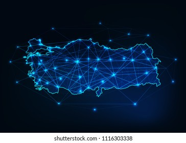 Turkey map outline with stars and lines abstract framework. Communication, connection concept.Modern futuristic low polygonal, wireframe, lines and dots design. Vector illustration.